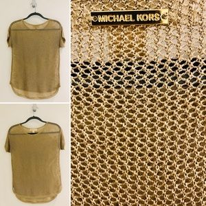 MICHAEL KORS Gold knit top.